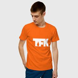 Футболка хлопковая мужская TFK: White Logo цвета оранжевый — фото 2