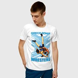 Футболка хлопковая мужская Greco-roman wrestling цвета белый — фото 2