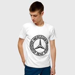 Мужская хлопковая футболка с принтом Mercedes-Benz, цвет: белый, артикул: 10015734600001 — фото 2