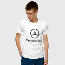 Футболка хлопковая мужская Logo Mercedes-Benz цвета белый — фото 2