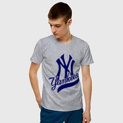 Футболка хлопковая мужская NY - Yankees цвета меланж — фото 2