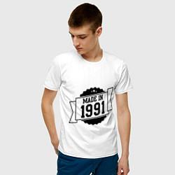 Футболка хлопковая мужская Made in 1991 цвета белый — фото 2