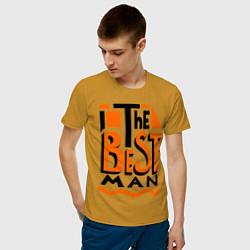 Футболка хлопковая мужская The best man цвета горчичный — фото 2