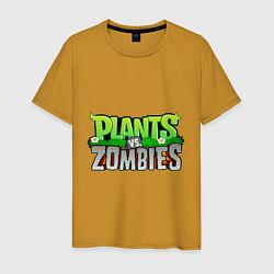 Футболка хлопковая мужская Plants vs zombies цвета горчичный — фото 1