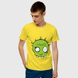Футболка хлопковая мужская Zombie (plant) цвета желтый — фото 2