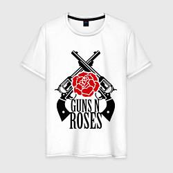 Футболка хлопковая мужская Guns n Roses: guns цвета белый — фото 1