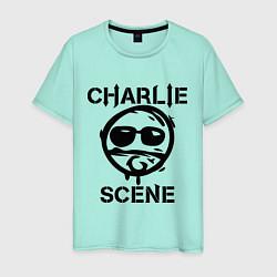 Футболка хлопковая мужская HU: Charlie Scene цвета мятный — фото 1