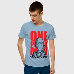 Мужская хлопковая футболка с принтом Ok Hero, цвет: мягкое небо, артикул: 10162187500001 — фото 2