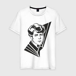 Футболка хлопковая мужская Юный Есенин цвета белый — фото 1