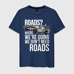 Футболка хлопковая мужская We don't need roads цвета тёмно-синий — фото 1