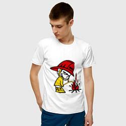 Футболка хлопковая мужская Ручной пожарник цвета белый — фото 2