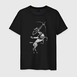 Футболка хлопковая мужская Звездный Стрелец цвета черный — фото 1