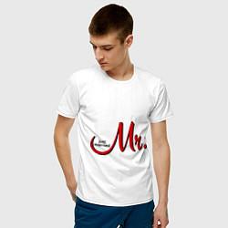 Футболка хлопковая мужская Mr. Just married цвета белый — фото 2
