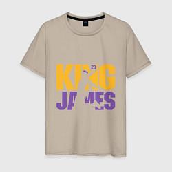 Мужская хлопковая футболка с принтом King James, цвет: миндальный, артикул: 10166745500001 — фото 1