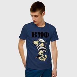 Футболка хлопковая мужская ВМФ цвета тёмно-синий — фото 2