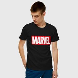 Мужская хлопковая футболка с принтом MARVEL, цвет: черный, артикул: 10170665900001 — фото 2