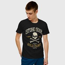 Футболка хлопковая мужская Stone Sour: Gold Bones цвета черный — фото 2