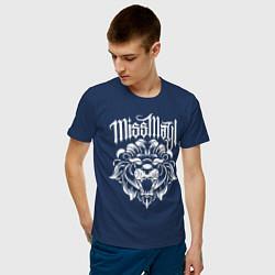 Футболка хлопковая мужская Miss May I: Angry Lion цвета тёмно-синий — фото 2
