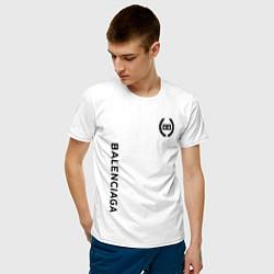 Футболка хлопковая мужская Balenciaga: Light Style цвета белый — фото 2