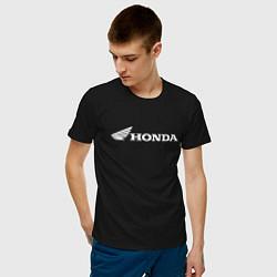 Мужская хлопковая футболка с принтом HONDA, цвет: черный, артикул: 10173934900001 — фото 2