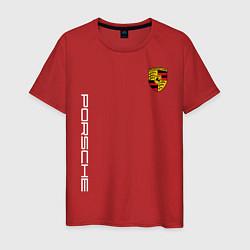 Футболка хлопковая мужская PORSCHE цвета красный — фото 1