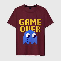Футболка хлопковая мужская Pac-Man: Game over цвета меланж-бордовый — фото 1