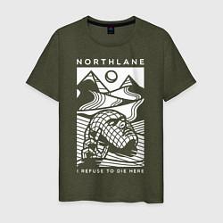 Футболка хлопковая мужская Northlane: I Refuse to die here цвета меланж-хаки — фото 1