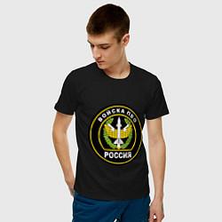 Футболка хлопковая мужская ПВО цвета черный — фото 2