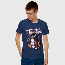 Футболка хлопковая мужская Two-Face цвета тёмно-синий — фото 2