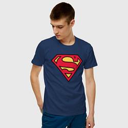 Футболка хлопковая мужская Superman logo цвета тёмно-синий — фото 2