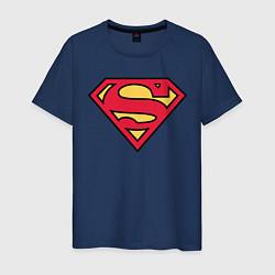 Футболка хлопковая мужская Superman logo цвета тёмно-синий — фото 1