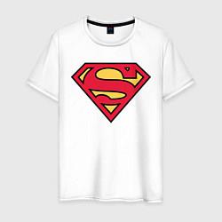 Футболка хлопковая мужская Superman logo цвета белый — фото 1