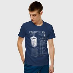 Футболка хлопковая мужская Доктор Кто, ТАРДИС цвета тёмно-синий — фото 2