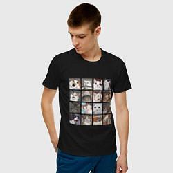 Мужская хлопковая футболка с принтом Коты из мемов, цвет: черный, артикул: 10200658700001 — фото 2