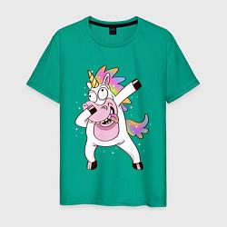 Футболка хлопковая мужская Dabbing Unicorn цвета зеленый — фото 1