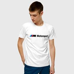 Мужская хлопковая футболка с принтом БМВ мотоспорт, цвет: белый, артикул: 10205676500001 — фото 2