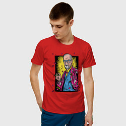 Футболка хлопковая мужская Зигмунд Фрейд цвета красный — фото 2