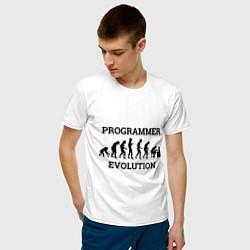 Футболка хлопковая мужская Эволюция программиста цвета белый — фото 2