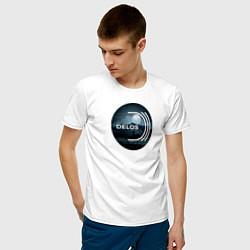 Футболка хлопковая мужская Delos цвета белый — фото 2