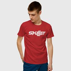 Мужская хлопковая футболка с принтом Skillet, цвет: красный, артикул: 10211197900001 — фото 2