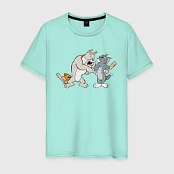 Футболка хлопковая мужская Tom & Jerry цвета мятный — фото 1