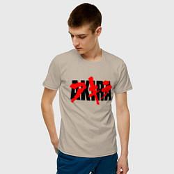 Футболка хлопковая мужская AKIRA цвета миндальный — фото 2