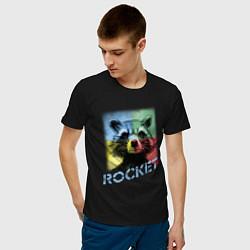 Футболка хлопковая мужская ROCKET цвета черный — фото 2