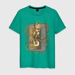 Футболка хлопковая мужская Groot цвета зеленый — фото 1