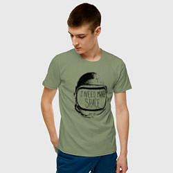 Футболка хлопковая мужская Мне нужно больше места цвета авокадо — фото 2