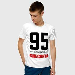 Футболка хлопковая мужская 95 Chechnya цвета белый — фото 2