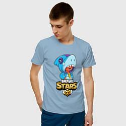 Мужская хлопковая футболка с принтом GOLDEN LEON, цвет: мягкое небо, артикул: 10224769900001 — фото 2