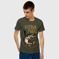 Футболка хлопковая мужская Клёвый Рыбак цвета меланж-хаки — фото 2