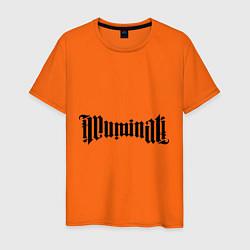 Футболка хлопковая мужская Амбиграмма Иллюминати цвета оранжевый — фото 1