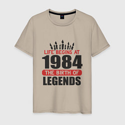 Футболка хлопковая мужская 1984 - рождение легенды цвета миндальный — фото 1